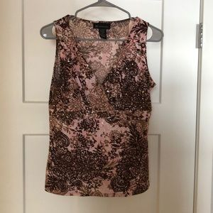 Pink and brown v-neck tank with sequins